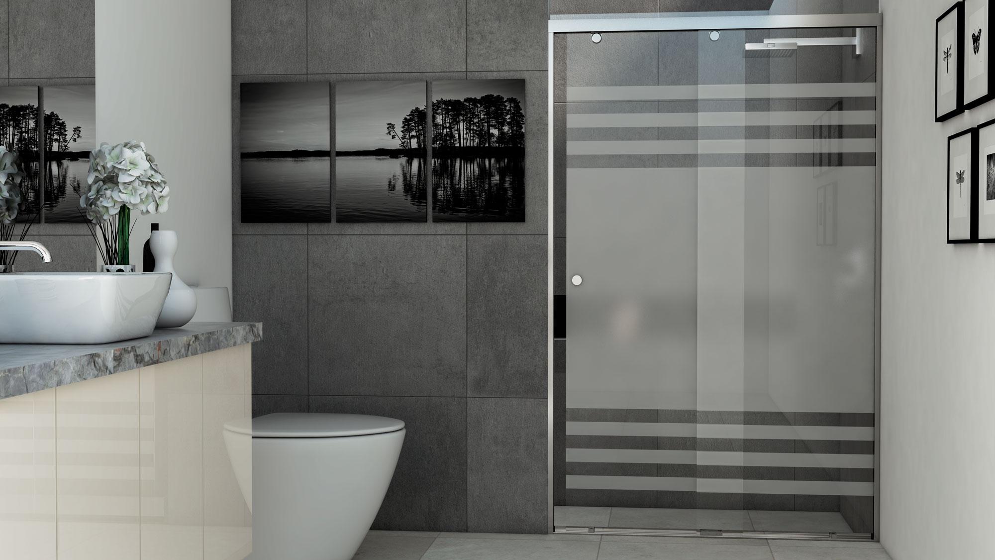 Puertas para bano de cristal templado alumineros y for Puertas principales de cristal